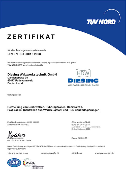 Iso 9001 Zertifikat Diesing